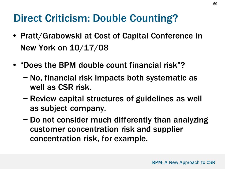 69 BPM: A New Approach to CSR Direct Criticism: Double Counting.