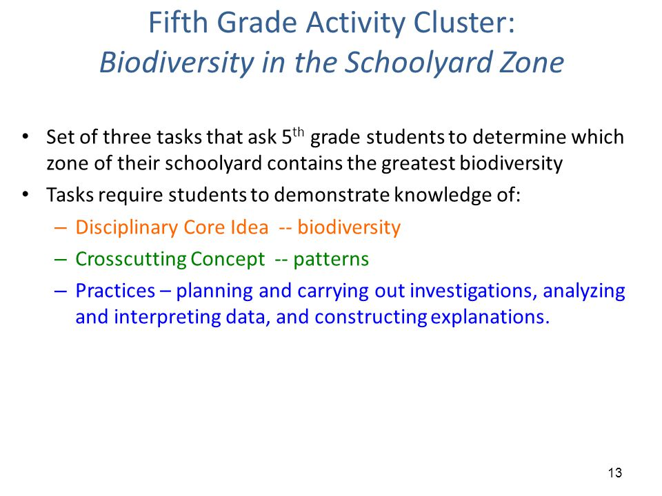 Fifth Grade Activity Cluster: Biodiversity in the Schoolyard Zone Set of three tasks that ask 5 th grade students to determine which zone of their schoolyard contains the greatest biodiversity Tasks require students to demonstrate knowledge of: – Disciplinary Core Idea -- biodiversity – Crosscutting Concept -- patterns – Practices – planning and carrying out investigations, analyzing and interpreting data, and constructing explanations.
