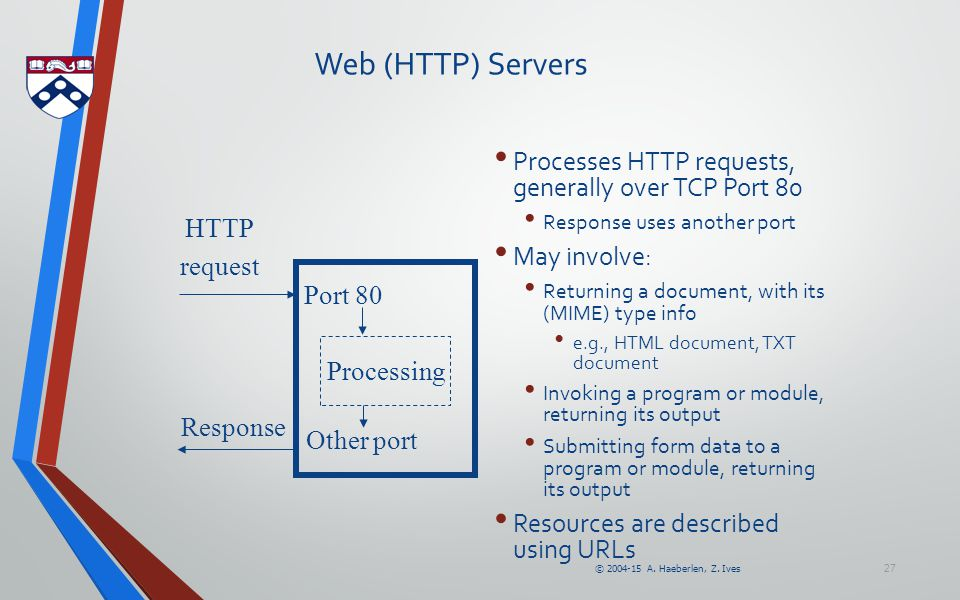 © 2004-15 A. Haeberlen, Z. Ives 27 Web (HTTP) Servers HTTP request Port 80 Response Other port Processing Processes HTTP requests, generally over TCP