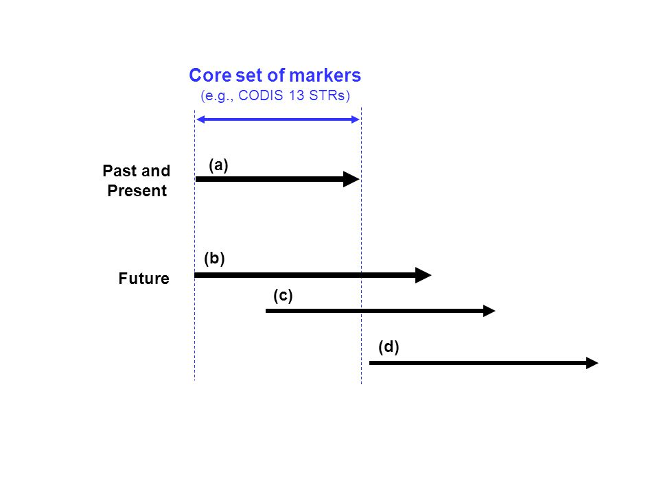 Core set of markers (e.g., CODIS 13 STRs) Past and Present Future (a) (b) (c) (d) Possible scenarios for extending sets of genetic markers to be used