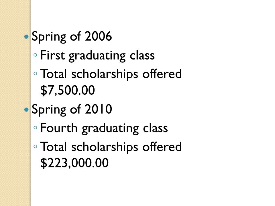 Spring of 2006 ◦ First graduating class ◦ Total scholarships offered $7,500.00 Spring of 2010 ◦ Fourth graduating class ◦ Total scholarships offered $