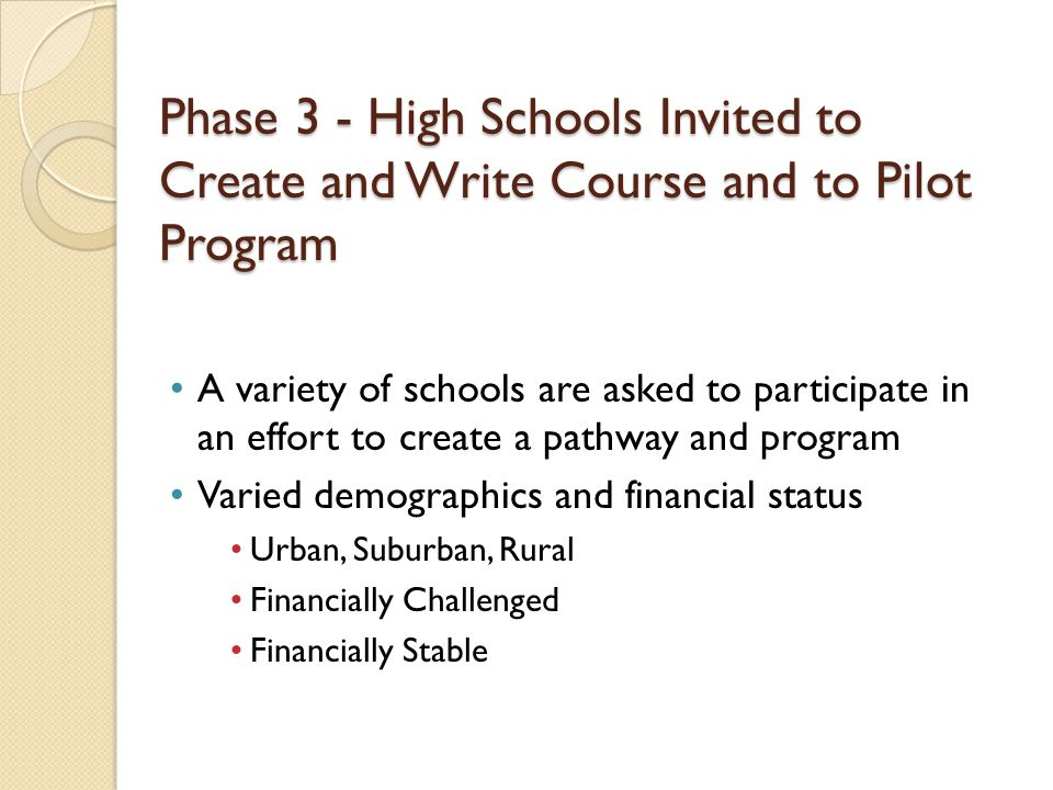 Phase 3 - High Schools Invited to Create and Write Course and to Pilot Program A variety of schools are asked to participate in an effort to create a