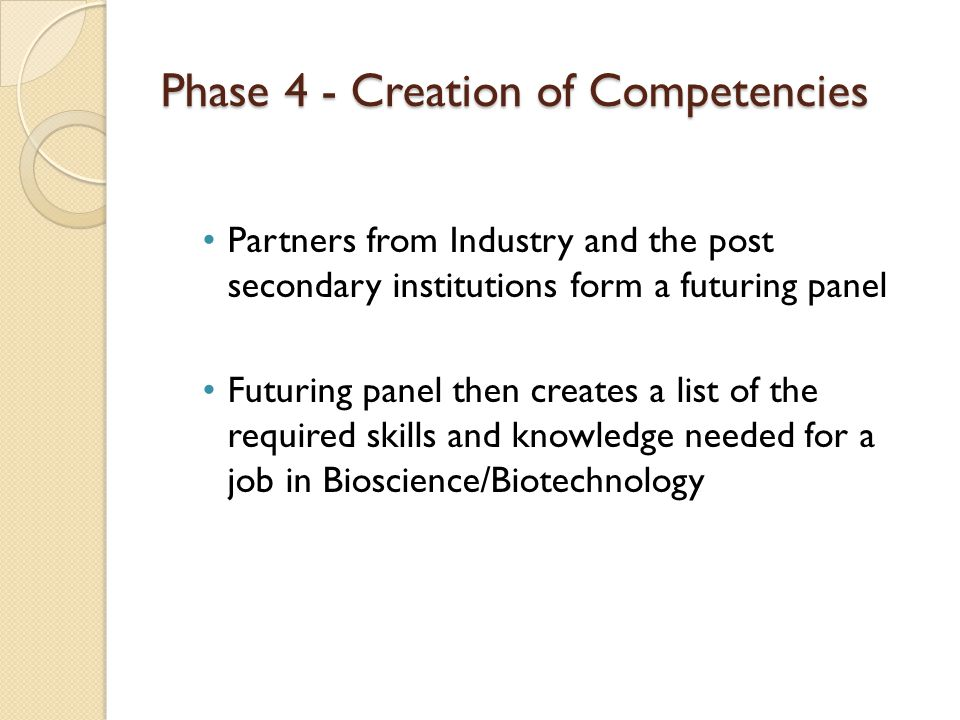 Phase 4 - Creation of Competencies Partners from Industry and the post secondary institutions form a futuring panel Futuring panel then creates a list