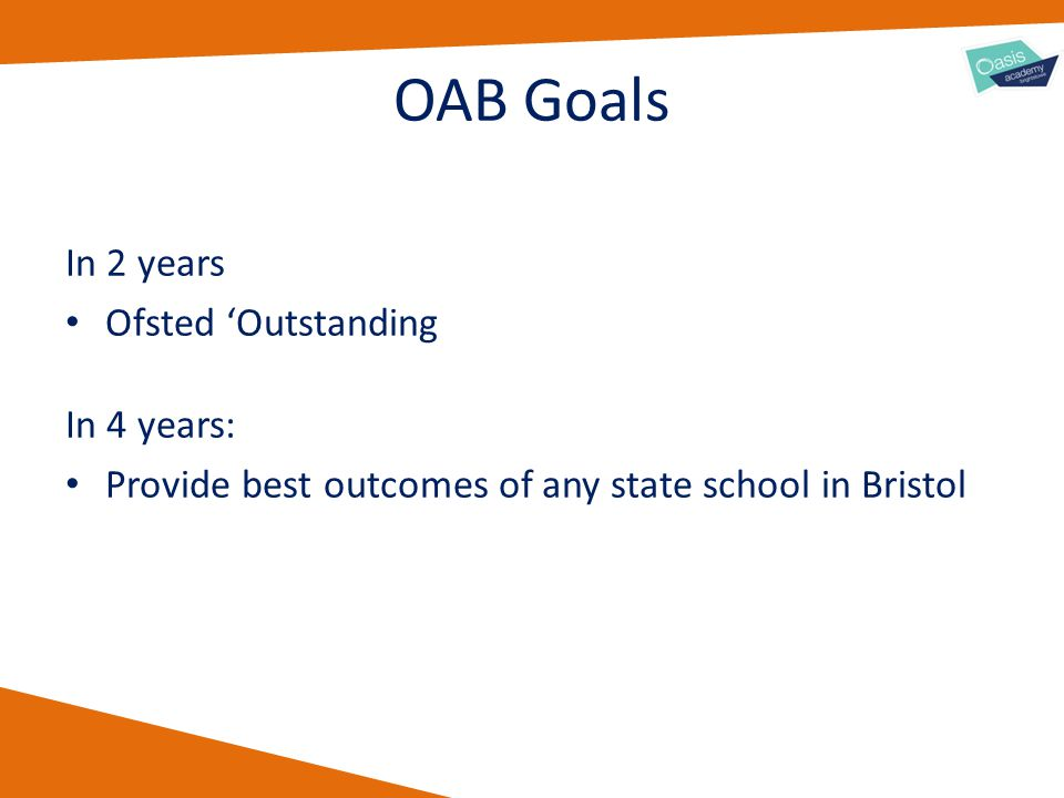 OAB Goals In 2 years Ofsted 'Outstanding In 4 years: Provide best outcomes of any state school in Bristol