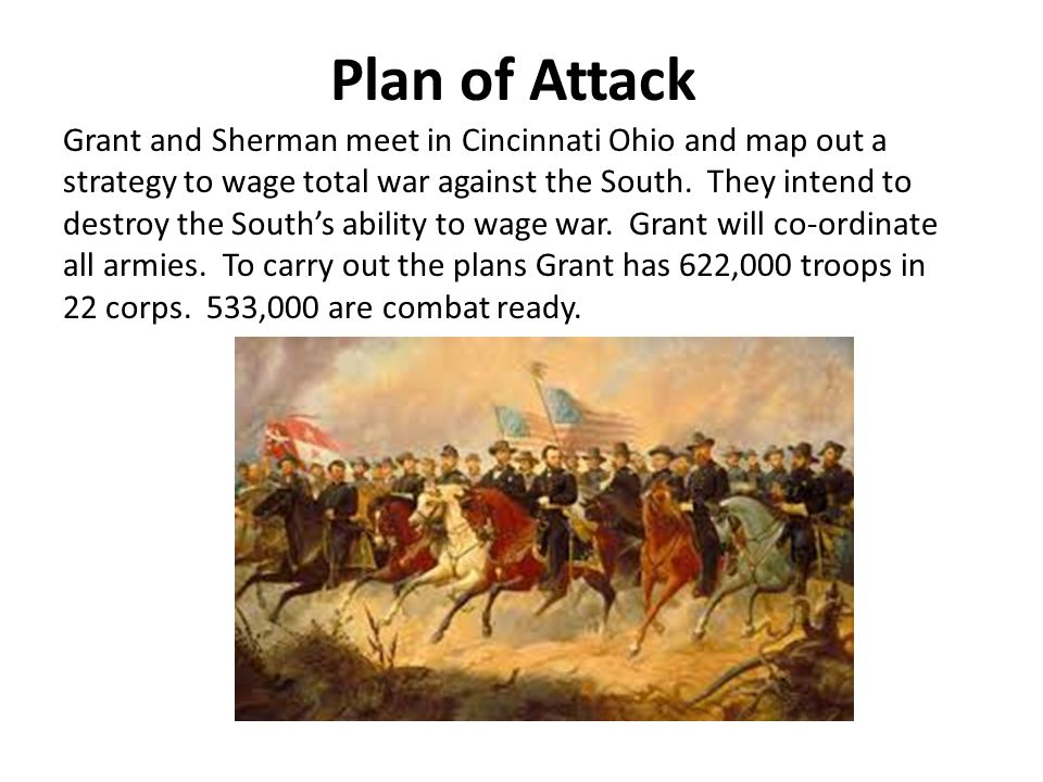 Plan of Attack Grant and Sherman meet in Cincinnati Ohio and map out a strategy to wage total war against the South.