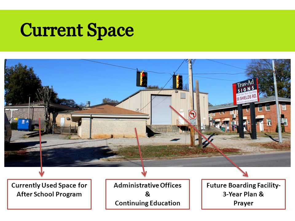 Currently Used Space for After School Program Administrative Offices & Continuing Education Future Boarding Facility- 3-Year Plan & Prayer