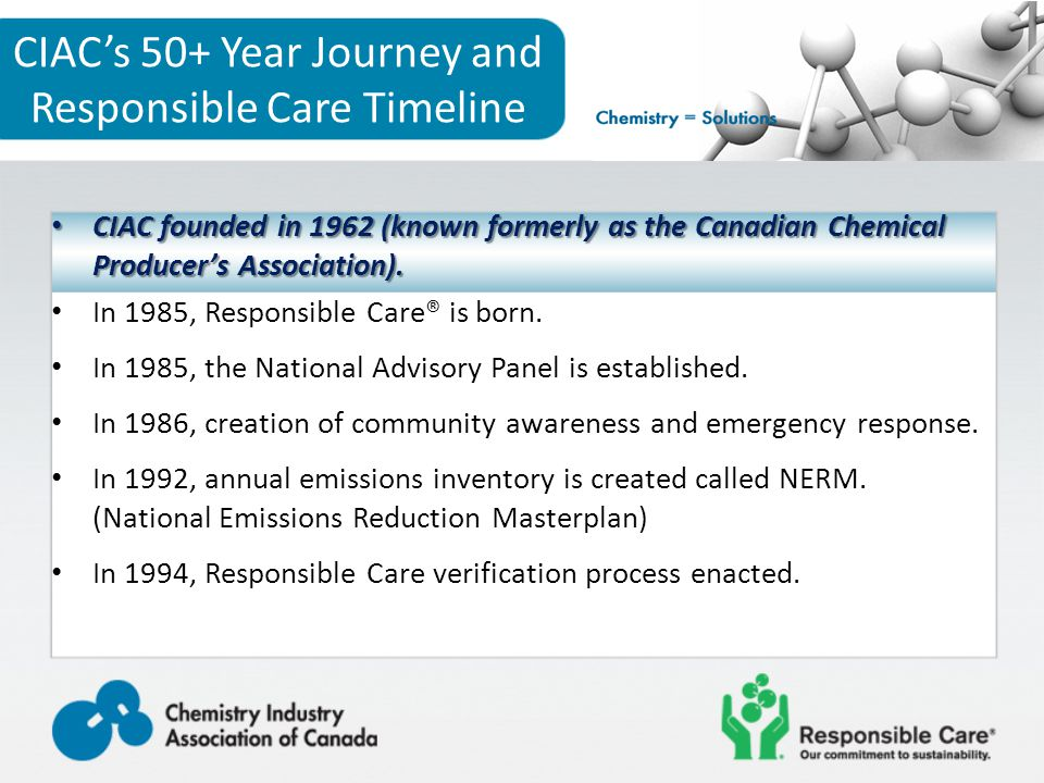 CIAC's 50+ Year Journey and Responsible Care Timeline CIAC founded in 1962 (known formerly as the Canadian Chemical Producer's Association).