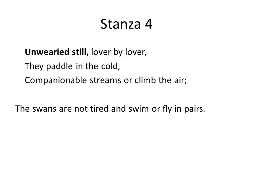 Stanza 4 Unwearied still, lover by lover, They paddle in the cold, Companionable streams or climb the air; The swans are not tired and swim or fly in pairs.