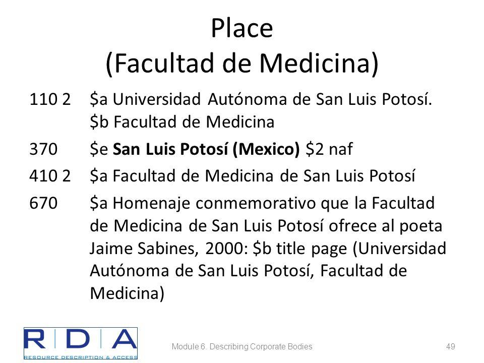 Place (Facultad de Medicina) 110 2$a Universidad Autónoma de San Luis Potosí.