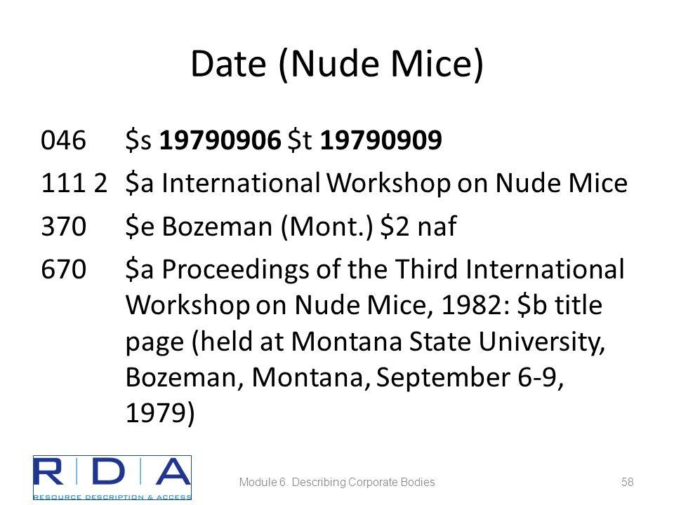 Date (Nude Mice) 046$s 19790906 $t 19790909 111 2$a International Workshop on Nude Mice 370$e Bozeman (Mont.) $2 naf 670$a Proceedings of the Third International Workshop on Nude Mice, 1982: $b title page (held at Montana State University, Bozeman, Montana, September 6-9, 1979) Module 6.