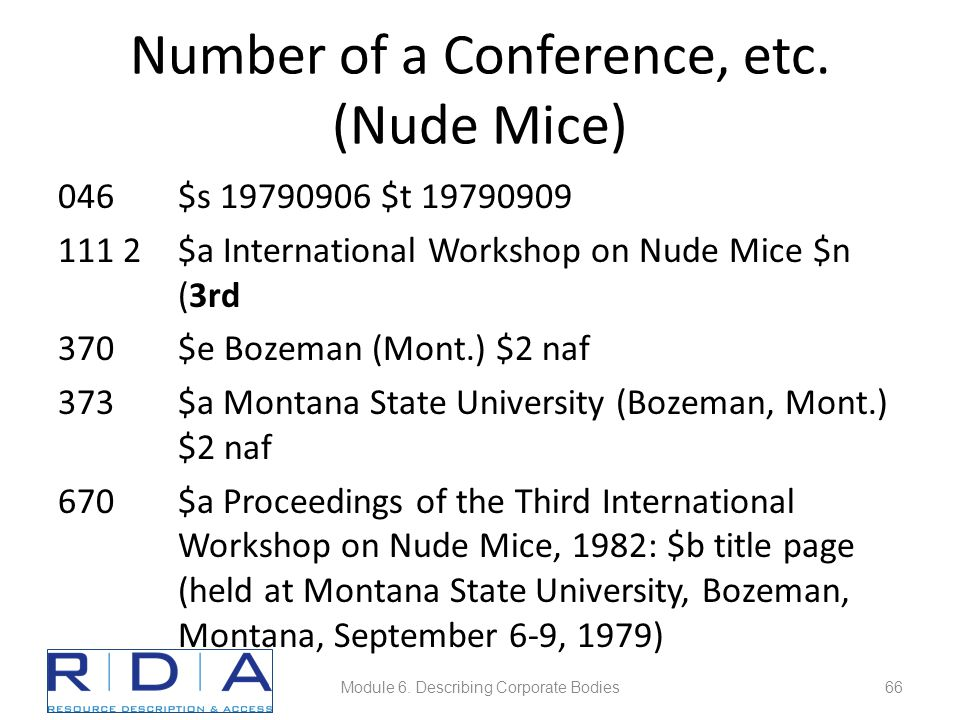 Number of a Conference, etc. (Nude Mice) 046$s 19790906 $t 19790909 111 2$a International Workshop on Nude Mice $n (3rd 370$e Bozeman (Mont.) $2 naf 3