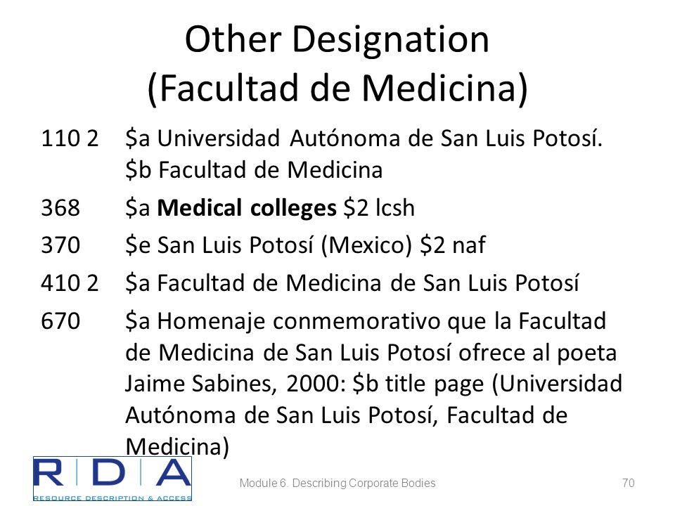 Other Designation (Facultad de Medicina) 110 2$a Universidad Autónoma de San Luis Potosí.