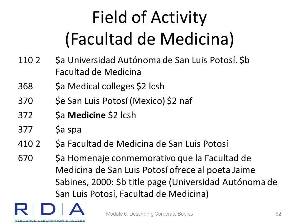 Field of Activity (Facultad de Medicina) 110 2$a Universidad Autónoma de San Luis Potosí.