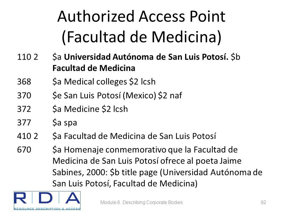 Authorized Access Point (Facultad de Medicina) 110 2$a Universidad Autónoma de San Luis Potosí.