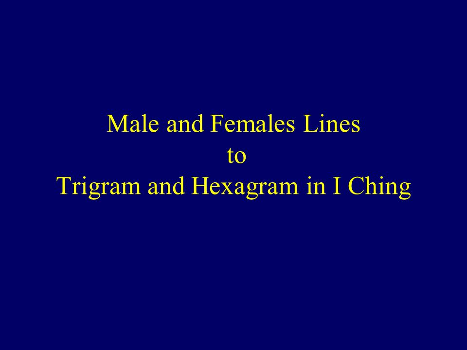 Male and Females Lines to Trigram and Hexagram in I Ching