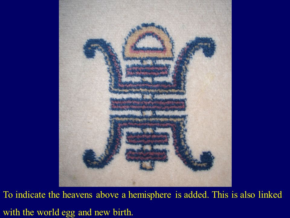 To indicate the heavens above a hemisphere is added.