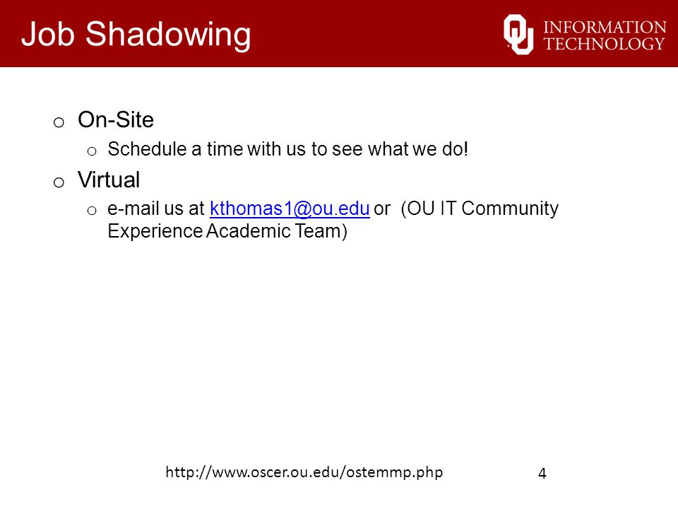 Other Opportunities/Resources o Jobs at OU o http://jobs.ou.edu http://jobs.ou.edu o Jobs at OneNet o http://www.okhighered.org/job-opportunities/ http://www.oscer.ou.edu/ostemmp.php 5