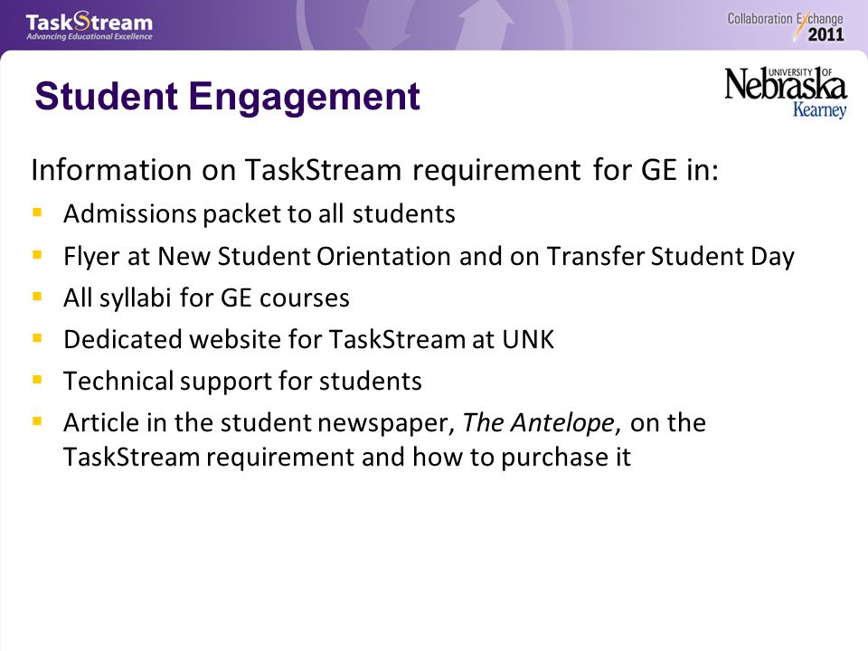 Student Engagement Information on TaskStream requirement for GE in:  Admissions packet to all students  Flyer at New Student Orientation and on Transfer Student Day  All syllabi for GE courses  Dedicated website for TaskStream at UNK  Technical support for students  Article in the student newspaper, The Antelope, on the TaskStream requirement and how to purchase it