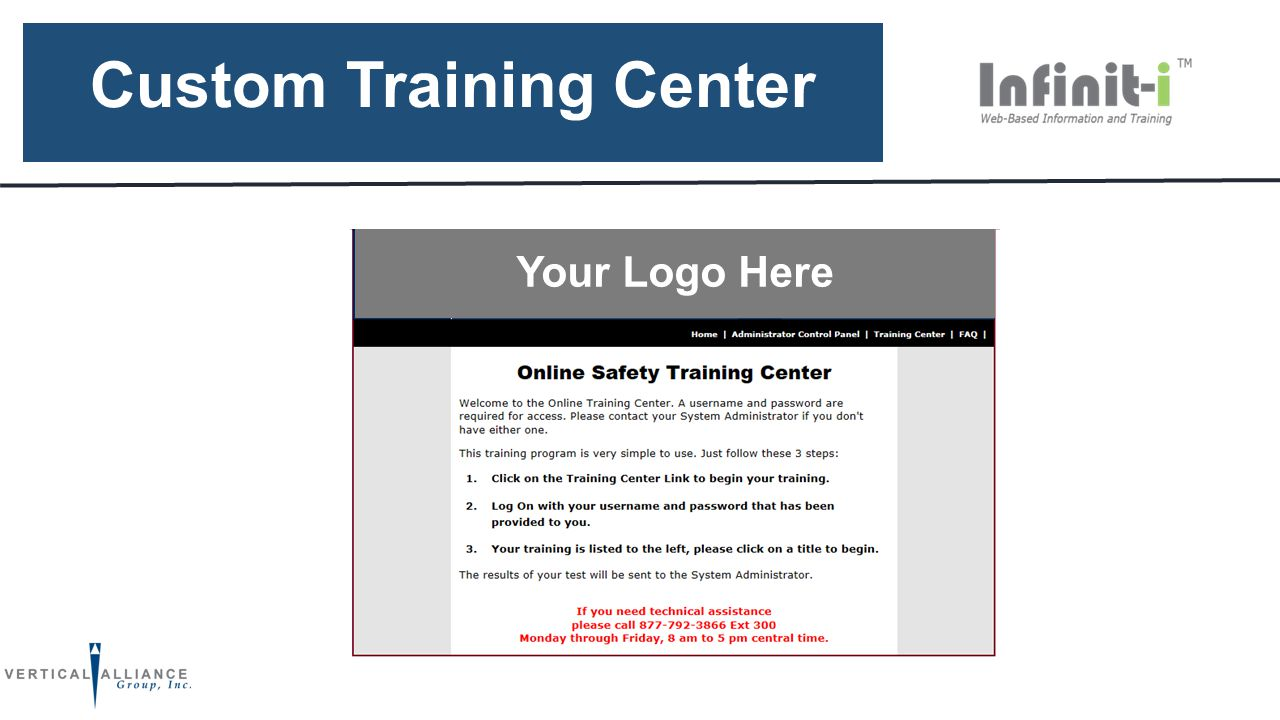 Custom Training Center CLIENT HEADER Your Logo Here