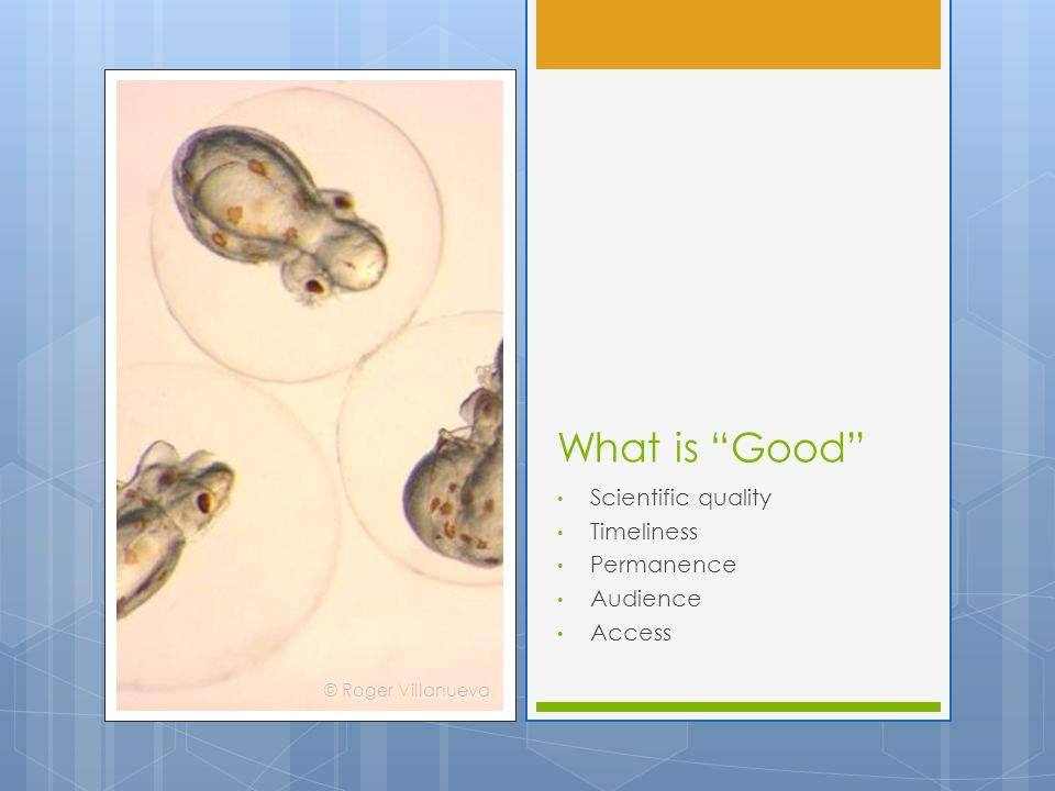 "What is ""Good"" Scientific quality Timeliness Permanence Audience Access © Roger Villanueva"