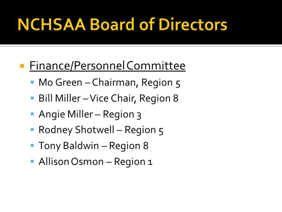  Finance/Personnel Committee  Mo Green – Chairman, Region 5  Bill Miller – Vice Chair, Region 8  Angie Miller – Region 3  Rodney Shotwell – Region 5  Tony Baldwin – Region 8  Allison Osmon – Region 1