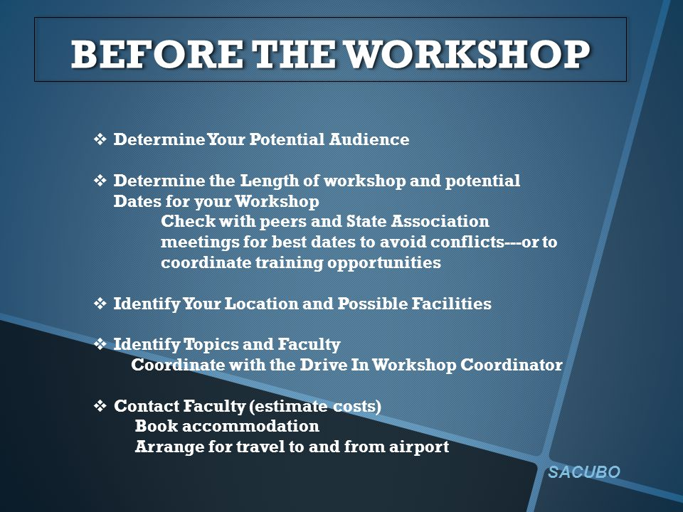 BEFORE THE WORKSHOP  Determine Your Potential Audience  Determine the Length of workshop and potential Dates for your Workshop Check with peers and State Association meetings for best dates to avoid conflicts---or to coordinate training opportunities  Identify Your Location and Possible Facilities  Identify Topics and Faculty Coordinate with the Drive In Workshop Coordinator  Contact Faculty (estimate costs) Book accommodation Arrange for travel to and from airport SACUBO