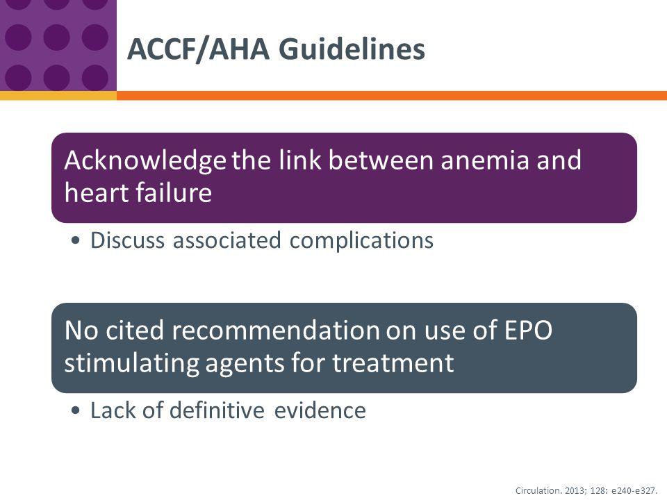 Acknowledge the link between anemia and heart failure Discuss associated complications No cited recommendation on use of EPO stimulating agents for tr