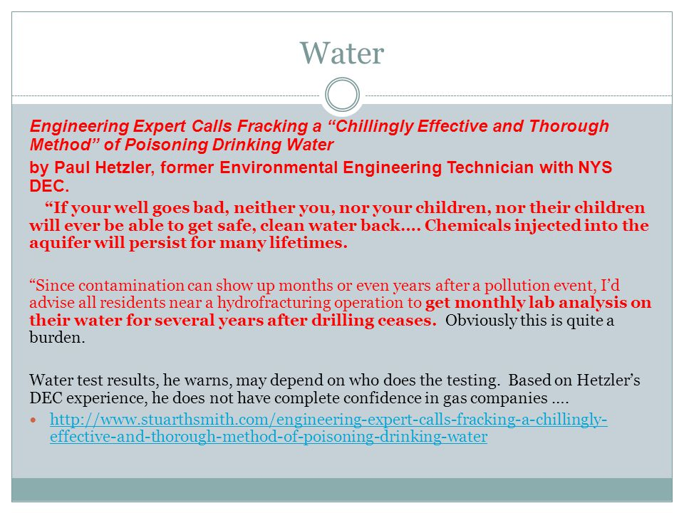 """Water Engineering Expert Calls Fracking a """"Chillingly Effective and Thorough Method"""" of Poisoning Drinking Water by Paul Hetzler, former Environmental"""