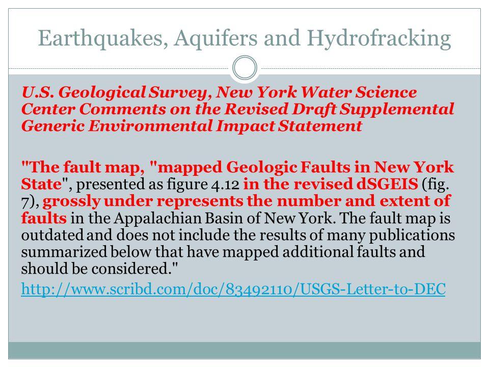 Earthquakes, Aquifers and Hydrofracking U.S.