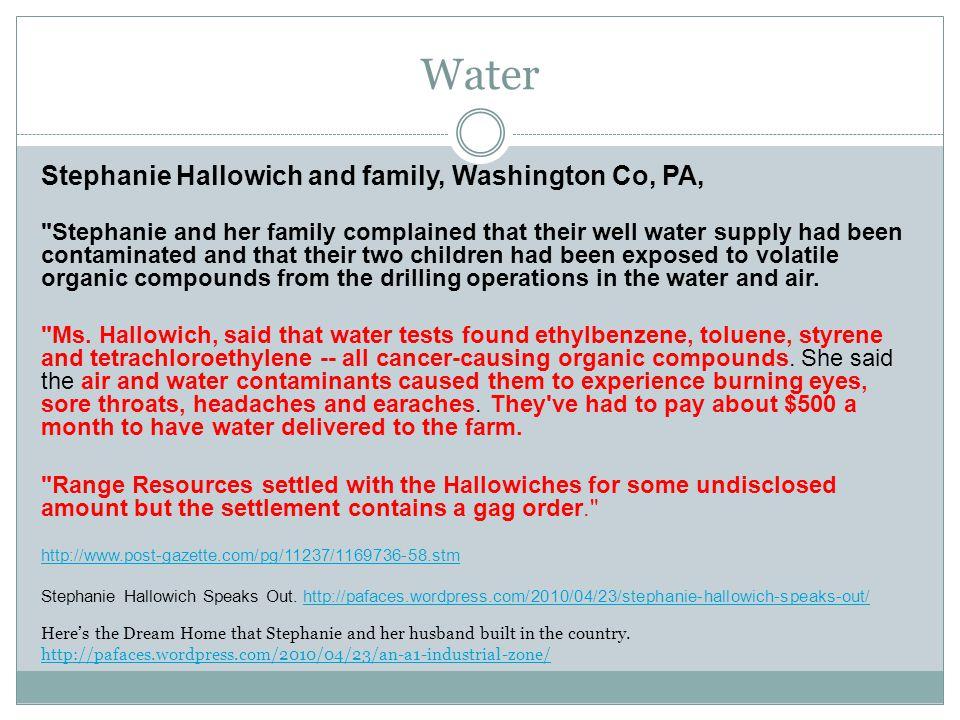 Water Stephanie Hallowich and family, Washington Co, PA,