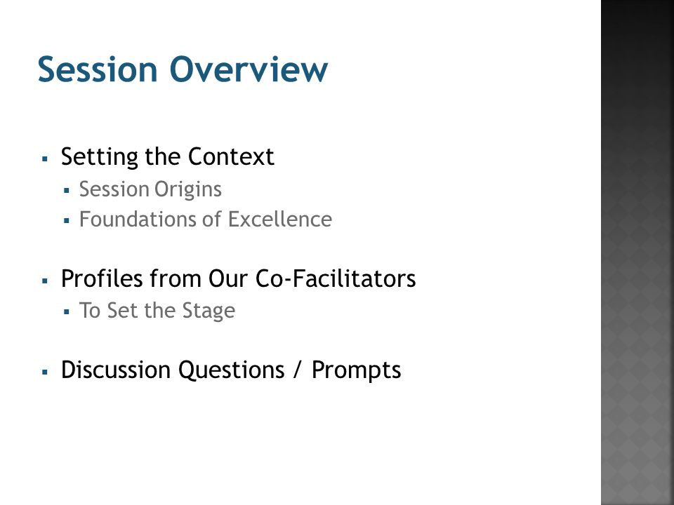  Setting the Context  Session Origins  Foundations of Excellence  Profiles from Our Co-Facilitators  To Set the Stage  Discussion Questions / Prompts