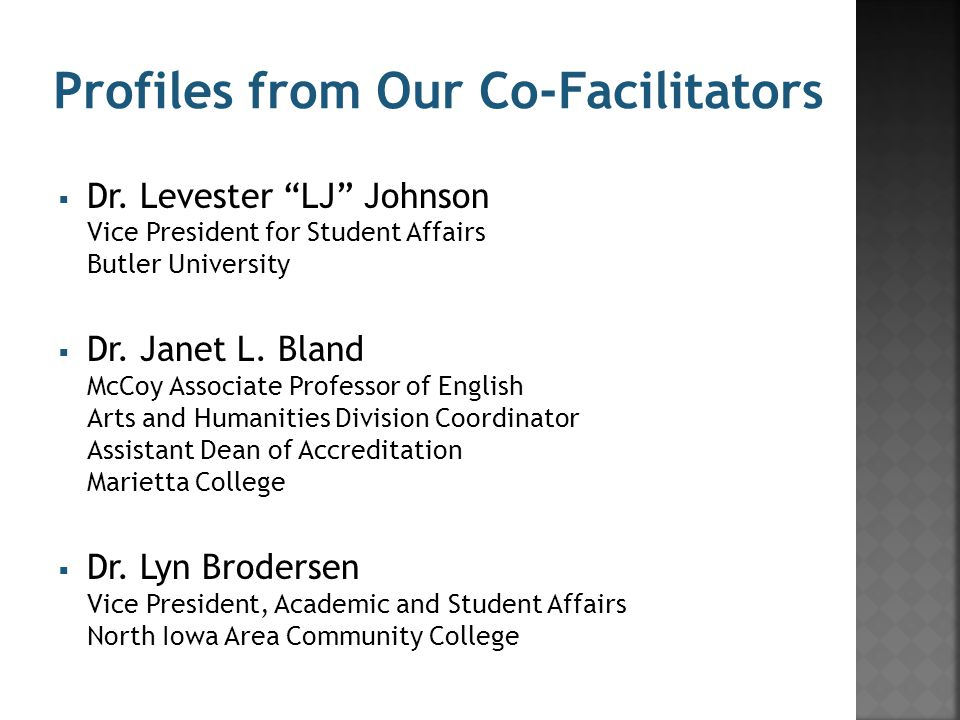Profiles from Our Co-Facilitators  Dr.