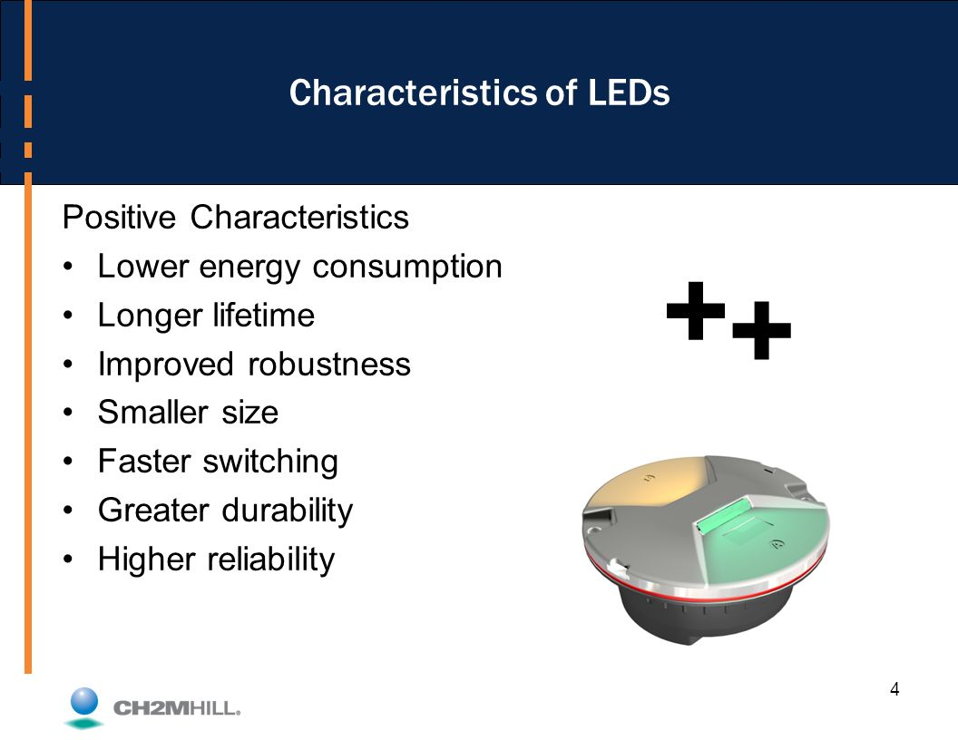 4 Characteristics of LEDs Positive Characteristics Lower energy consumption Longer lifetime Improved robustness Smaller size Faster switching Greater durability Higher reliability + +