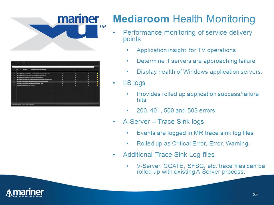 25 Mediaroom Health Monitoring Performance monitoring of service delivery points Application insight for TV operations Determine if servers are approaching failure Display health of Windows application servers.