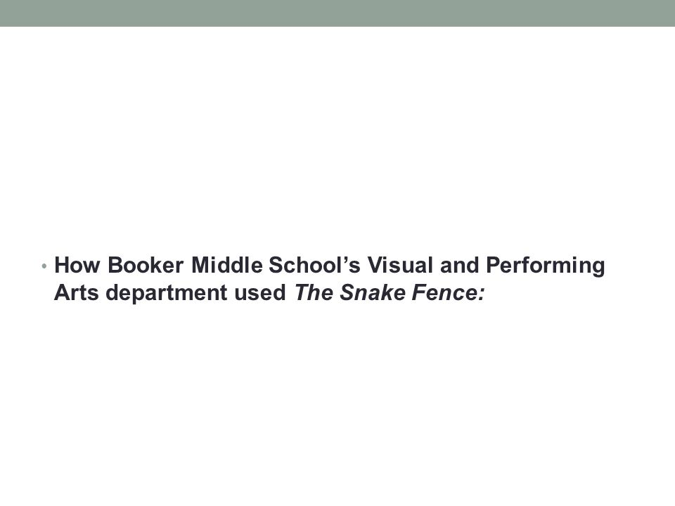 How Booker Middle School's Visual and Performing Arts department used The Snake Fence: