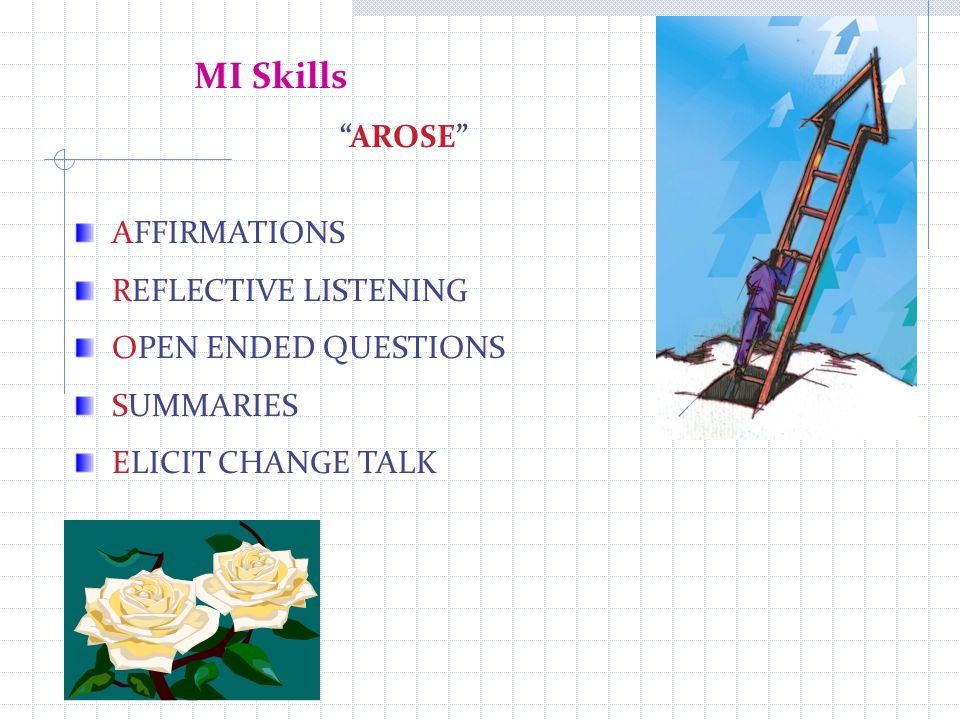 MI Skills AROSE AFFIRMATIONS REFLECTIVE LISTENING OPEN ENDED QUESTIONS SUMMARIES ELICIT CHANGE TALK