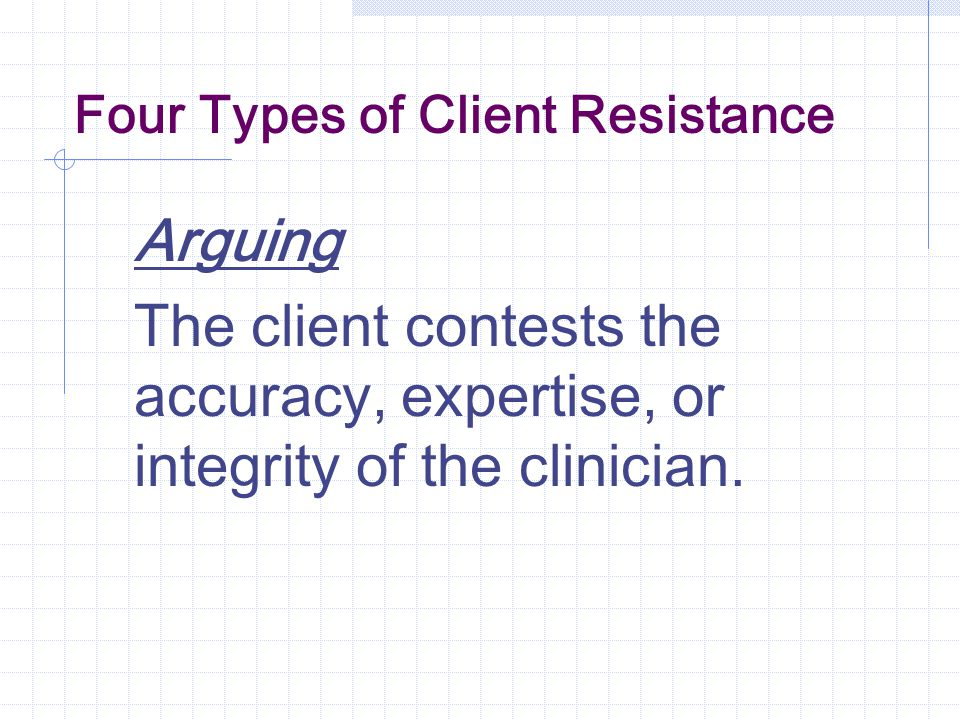 Four Types of Client Resistance Arguing The client contests the accuracy, expertise, or integrity of the clinician.
