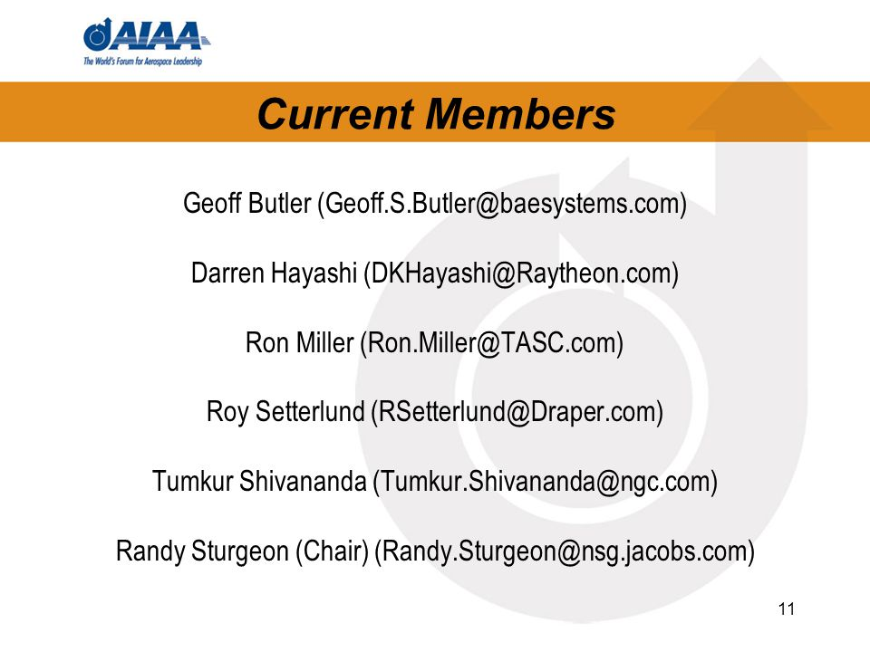 11 Current Members Geoff Butler (Geoff.S.Butler@baesystems.com) Darren Hayashi (DKHayashi@Raytheon.com) Ron Miller (Ron.Miller@TASC.com) Roy Setterlund (RSetterlund@Draper.com) Tumkur Shivananda (Tumkur.Shivananda@ngc.com) Randy Sturgeon (Chair) (Randy.Sturgeon@nsg.jacobs.com)
