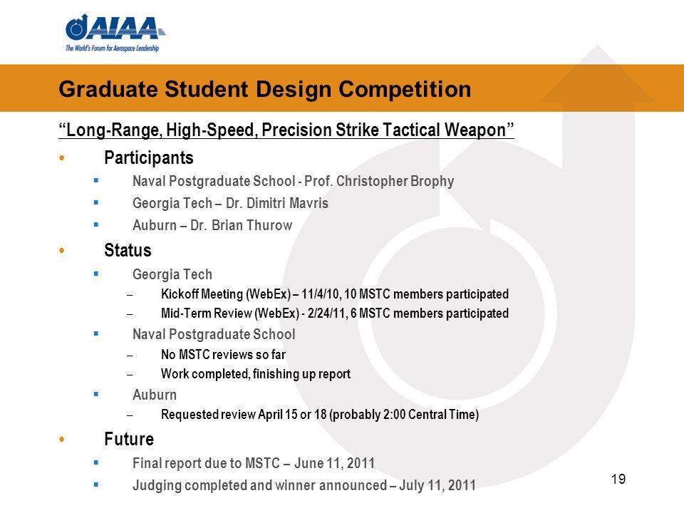 Graduate Student Design Competition Long-Range, High-Speed, Precision Strike Tactical Weapon Participants  Naval Postgraduate School - Prof.