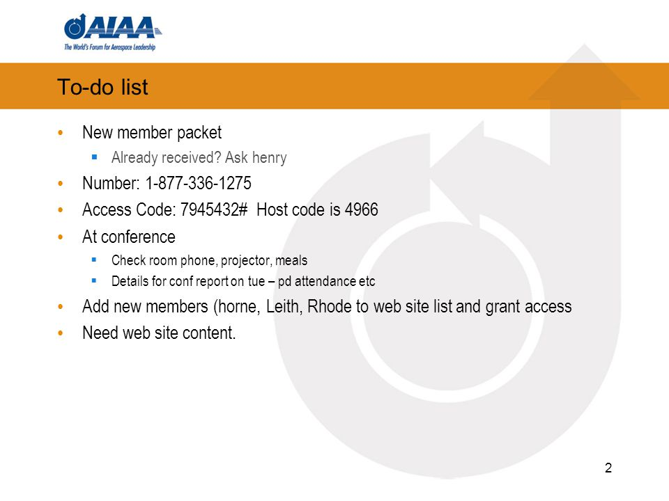 Agenda Membership Subcommittee  Introduction of new members Awards Subcommittee Education Subcommittee Communications Subcommittee Conference Updates  AIAA/MDA  Missile Sciences/Strategic-Tactical conference merger 3