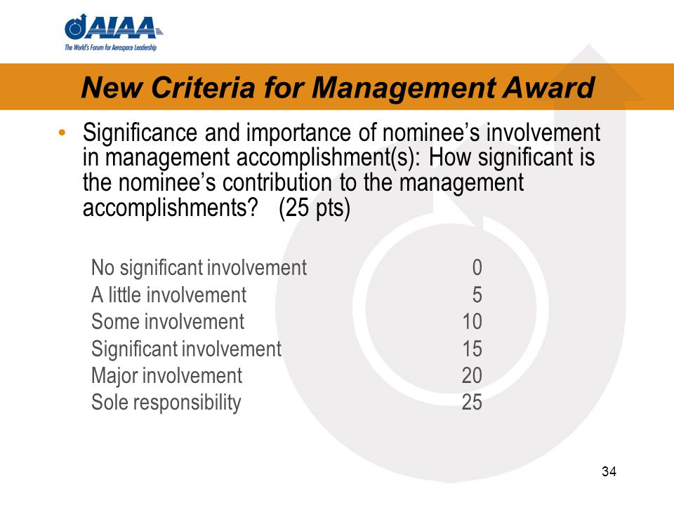 34 New Criteria for Management Award Significance and importance of nominee's involvement in management accomplishment(s): How significant is the nominee's contribution to the management accomplishments.