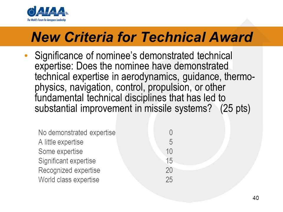 40 New Criteria for Technical Award Significance of nominee's demonstrated technical expertise: Does the nominee have demonstrated technical expertise in aerodynamics, guidance, thermo- physics, navigation, control, propulsion, or other fundamental technical disciplines that has led to substantial improvement in missile systems.