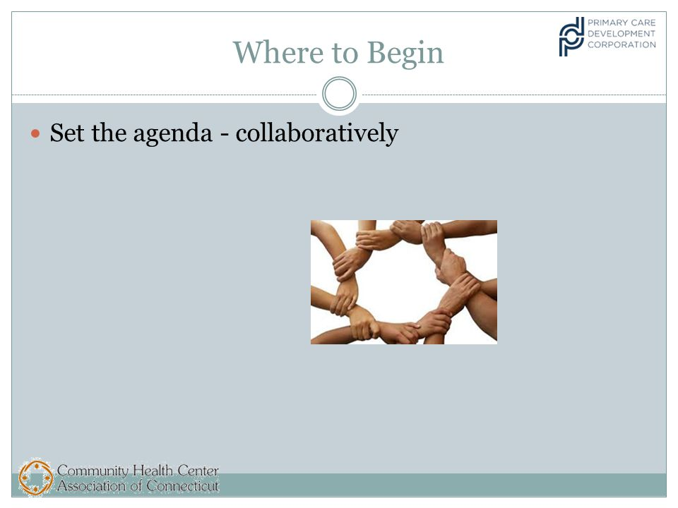 Where to Begin Set the agenda - collaboratively