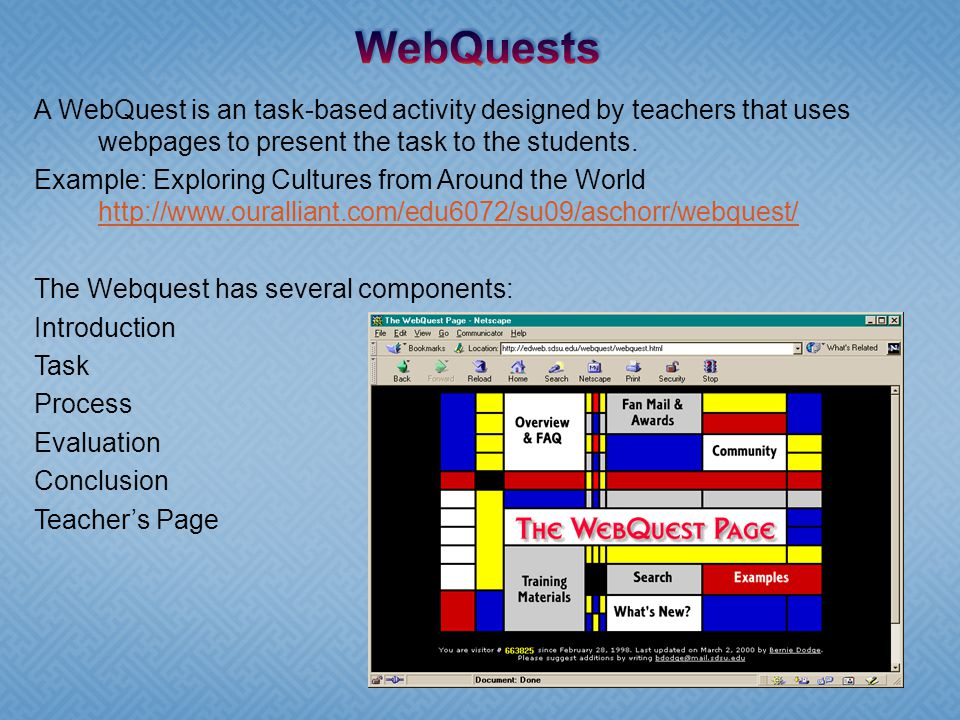 A WebQuest is an task-based activity designed by teachers that uses webpages to present the task to the students.