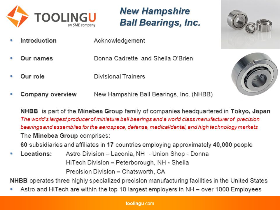 toolingu.com New Hampshire Ball Bearings, Inc.