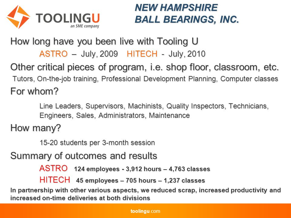 toolingu.com How long have you been live with Tooling U ASTRO – July, 2009HITECH - July, 2010 Other critical pieces of program, i.e.