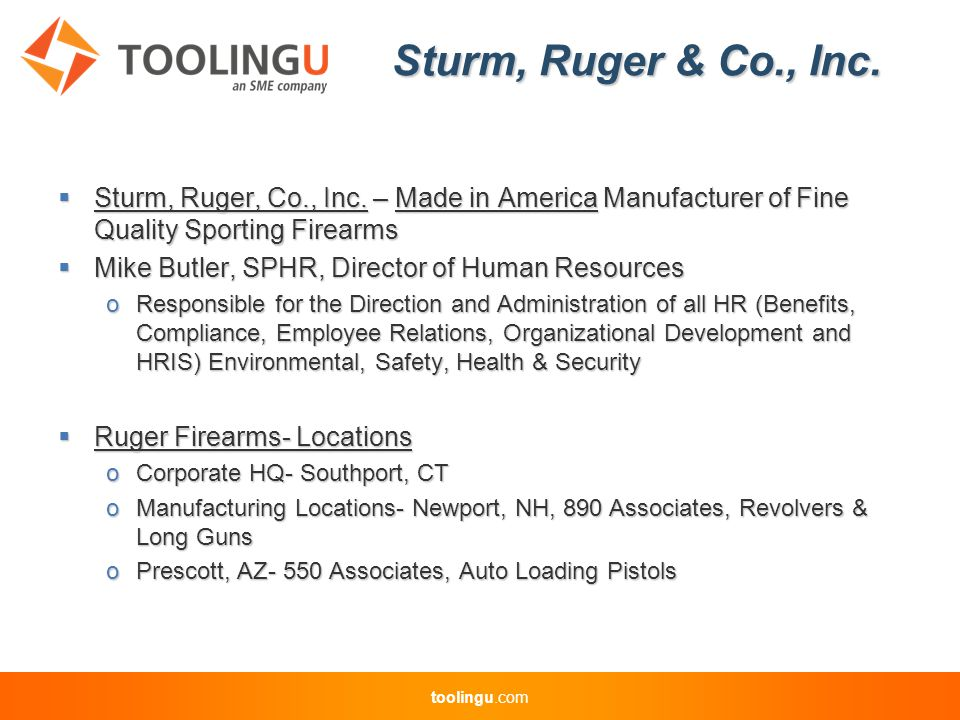 toolingu.com Sturm, Ruger & Co., Inc.  Sturm, Ruger, Co., Inc.