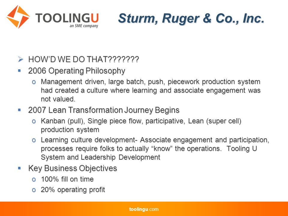 toolingu.com Sturm, Ruger & Co., Inc.  HOW'D WE DO THAT??????.