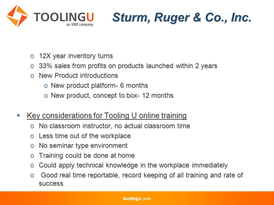 toolingu.com Sturm, Ruger & Co., Inc.