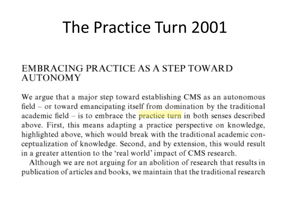 The Practice Turn 2001